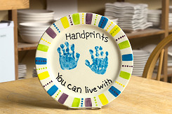 Hand prints on a plate